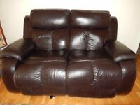 2 seater leather reclining sofa.