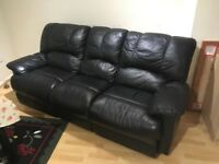3 Seater Black Leather Sofa Recliner