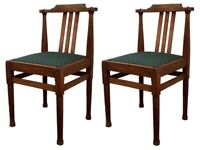 PAIR SOLID CARVED OAK ART & CRAFTS MOUSEMAN STYLE SINGLE SIDE HALL DINING CHAIRS