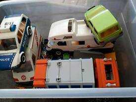 Box of play mobil toys