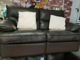 Matching 3 and 2 seater Brown leather reclining sofas selling individually £270 3seater