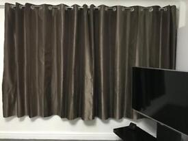 Brown striped eyelet curtains