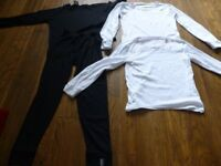good used condition thermals-includes-top-&-trousers-black-for-age-10-12-& 2 white john lewis tops