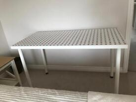 Desk - white with button pattern