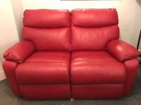 Red leather 2 seater recliner