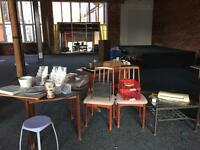Clearance items Must Go Today!! Tables, chairs, tools, printer, vases, cabinets, shelves. Come See!