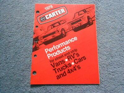1978 CARTER Performance Products Catalog Carburetor Street & Strip Car Truck