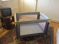 BabyStart Travel Cot - Grey and Green, perfect condition.