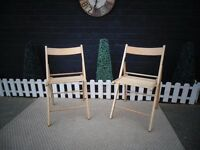 2 PINE FOLD AWAY CHAIRS IDEAL FOR CHRISTMAS TIME ;) ALL IN EXCELLENT CONDITION