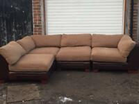 L Shape Brown/Beige leather Sofa