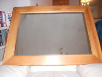 Large mirror with pine frame