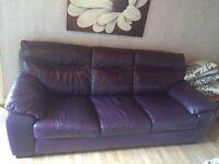 Deep purple Leather 3 piece sofa.