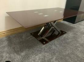 RECTANGLE GLASS TEMPERED CLEAR COFFEE TABLE WITH X- SHAPED LEGS