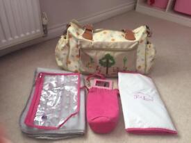 Pink lining change bag