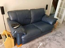 2 2 seater leather sofas (blue)