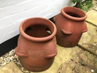Pair of very old strawberry planters