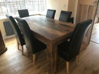 Dining table with six real leather chairs and room furniture a complete matching set