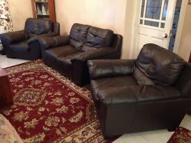 Leather three piece suite (2 arm chairs and 2 seater settee)