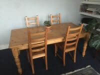 Solid Pine Dining Table 6 seater