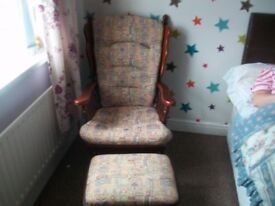 rocking chair and rocking footstool lovely condition text 07465655203