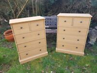 2 X Oak effect Chests of 5 drawers ( 3+2 )