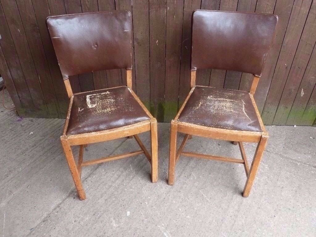 Chairs 2 x Brown Leather Project Dining Chairs Delivery available £7.50