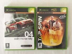 """XBOX ORIGINAL GAMES """"TOP SPIN"""" and """"COLIN MCRAE RALLY 04"""" with MANUALS"""