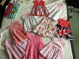 Bundle of 9 Baby Girl Dresses 6-9 months