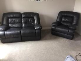 Electric leather reclining sofa and chair