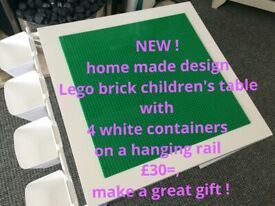 Children's activity bricks lego table with 4 container pots on a rail, great gift, bedroom lounge
