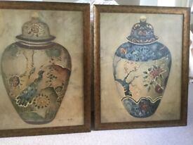 Stunning large 79x 63cm Oriental Style Paintings (signed)
