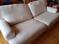 Large comfy sofa, cream fabric, good condition