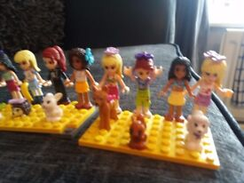 lego friends figures x 8 and animals x7