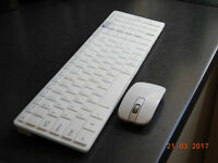 Slim White Wireless Keyboard and Optical Mouse