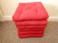 6x Chair Cushion, Red