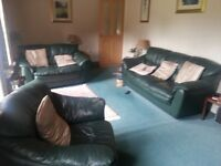 3 Piece Leather suite 2 sofas 1 chair.