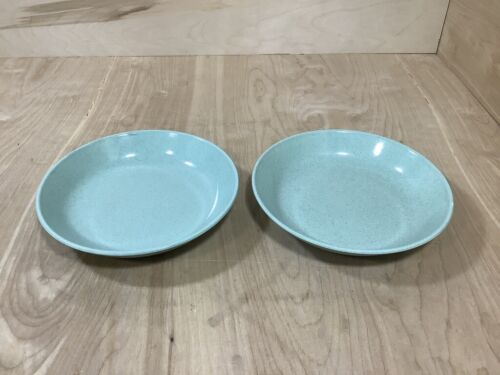 """Lot of Two Russel Wright Steubenville Soup Bowl Robin Egg Green 8"""" MCM Unmarked"""