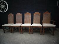 4 ANTIQUE SOLID PINE DINING CHAIRS AND 1 CARVER CHAIR ALL IN EXCELLENT CONDITION £60
