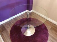 Dining Table 4 Seater - Glass Round - Debenhams