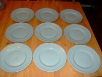 """9 Woods Ware Iris 22.5cm / 8.75"""" Plates (Aqua colourway)"""
