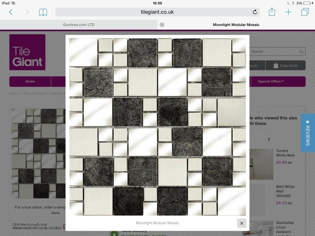 X30 sheets of tile giant moonlight metal mosaic tiles £539.40 worth