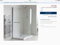 Left Hand Curved Walk in shower Inclosure Brushed chrome finish . New in Box . Size 1350 x 900x1850