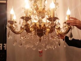 DELUXE 12 ARM CANDLE LIGHT FRENCH LOUIS XV STYLE GLASS CRYSTAL CHANDELIER 24K GOLD PLATED ONLY £800