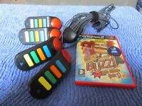 Playstation 2 Buzz controllers and Music Quiz Game