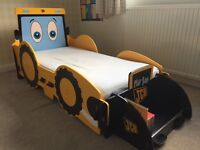JCB Digger kids bed - complete with book storage. Childrens bed.