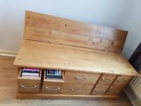 Solid Wood Ottoman Storage Trunk with Solid Wood Draws