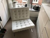 Barcelona chair and footstool white (replica)