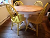 Upcycled extending oak dining table and four chairs