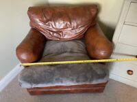 Brown shabby chick leather arm chair