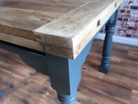 Folding Hardwood Rustic Reclaimed Kitchen Extending Folding Dining Table - Delivery Available